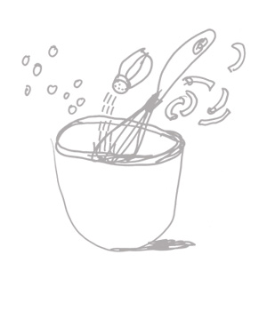 Get your design and marketing mix right - how we work with you, illustration of a mixing bowl by Bettina Kaiser