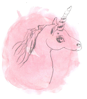 Pencil and watercolour illustration of a unicorn by Bettina Kaiser