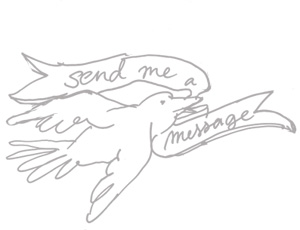 send BKA+D a message, illustration of a bird carrying a note.