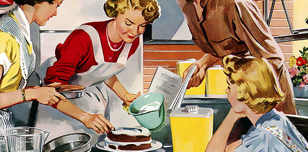 1950s style illustration of four housewives baking a cake together.