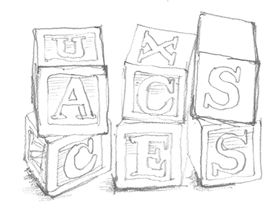 Illustration drawing of blocks with the words accessibility and UX (user experience)