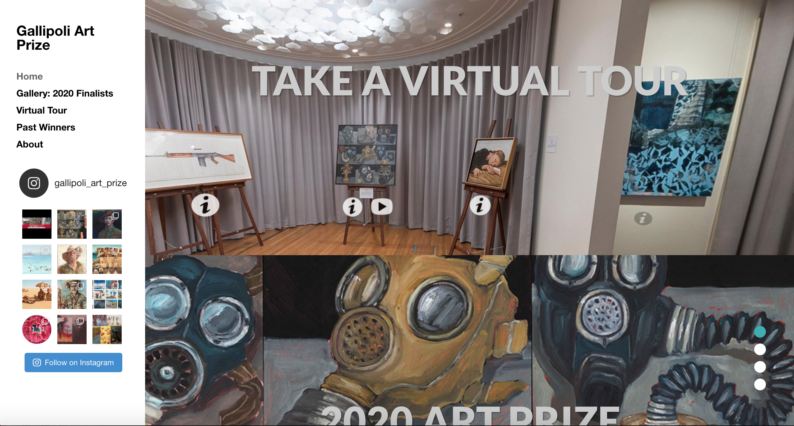 Screen view of Gallipoli Art Prize website and virtual tour